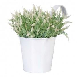 Pot blanc en métal pour balcon