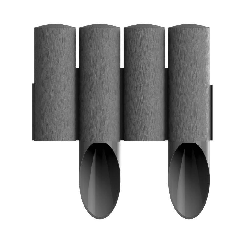 Palissade de jardin 4 STANDARD - graphite - 14,5 cm x 2,3 m