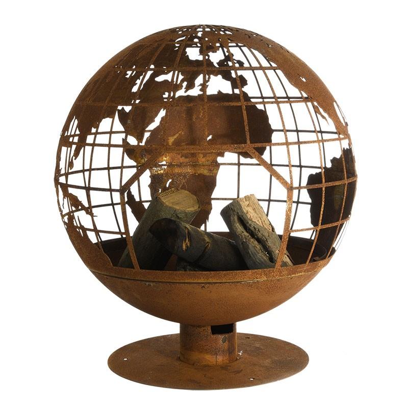 Braséro boule découpe laser motif carte du monde