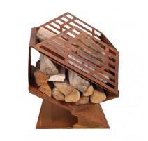 Chauffe terrasse avec stockage de bois