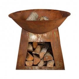 Vasque feu et stockage de bois