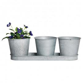 3 pots de fleurs avec soucoupe en zinc patiné