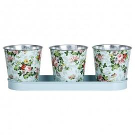3 pots de motif Roses avec soucoupe