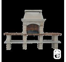 Barbecue Rustique grand modèle  Et 2 Tables Ton Blanc