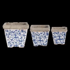 Set 3 pots en céramique patiné